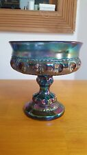 "Vtg Indiana Glass Iridescent Carnival Glass 5"" Wedding Bowl Pedestal Candy Dish"