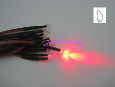 20 x 3mm Red Flicker 9V 12V DC Pre-Wired Water Clear LED Leds Candle Light 18CM