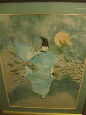 """Contemporary Japanese Art """"The Flute Player"""" Acrylic On Wood"""