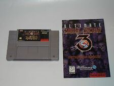ULTIMATE MORTAL KOMBAT 3 SUPER NINTENDO SNES CARTRIDGE MANUAL NO BOX TESTED
