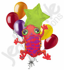 7 pc Summer Red Tree Frog Balloon Bouquet Party Decoration Birthday Baby Toad