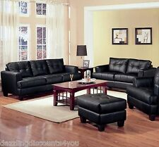2PC Modern Black Bonded Leather Sofa and Love Seat