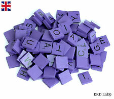 100 COLOUR Wooden Scrabble Tiles Mix Letters Varnished Alphabet Scrabbles PURPLE