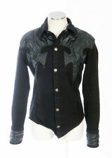 SERIOUS CLOTHING Black Faux Leather & Gabardine Punk Western Goth Jacket Women M