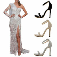 LADIES STILETTO ANKLE STRAP HIGH HEEL SANDALS PEEP TOE SHOES PARTY EVENING PROM