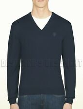 GUCCI Mens S navy 100% WOOL V-neck HYSTERIA Crest LOGO sweater NWT Authentic!