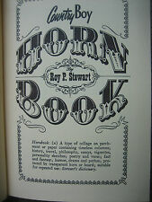 Country Boy Horn Book - Roy Stewart - First Edition - Inscribed/Signed By Author