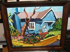 BLUE HOUSE FLORAL GARDEN LARGE OIL ON CANVAS PAINTING UNSIGNED