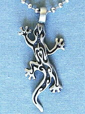 GECKO LIZARD PEWTER PENDANT MENS WOMENS BOYS GIRLS SURFER NECKLACE CHAIN  PC135