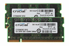 Crucial 4GB 2X 2GB 2RX8 PC2-5300 DDR2-667MHz 200PIN SODIMM Laptop Memory RAM CL5