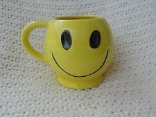 Yellow Vintage Smiley Face ceramic coffee mug cup soup pencil holder, flower pot