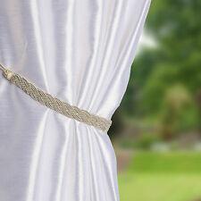 Pair Of Braided Satin Rope Curtain Tie Backs -Tiebacks Holdbacks Curtain & Voile
