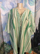 ROAMANS PLUS 30W NEW GREEN STRIPED BUTTON TEXTURED SHORT TAB SLEEVE TUNIC TOP