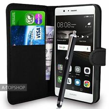 Black Wallet Case PU Leather Book Cover For Huawei P9 Lite Mobile Phone