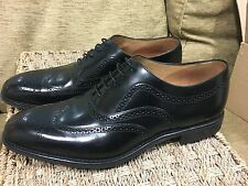 Loake Mens Black Leather wingtip lace up brogues - UK 11