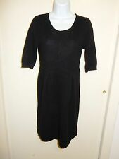 AQUA 100% CASHMERE BLACK SCOOP NECK 3/4 SLEEVES BABY-DOLL DRESS SWEATER M.XS