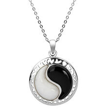 Sterling Silver White Jade and Black Onyx Yin Yang Necklace.
