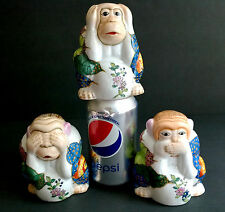 3 Monkey Vintage Chinese Porcelain Figurine Set See Hear Speak No Evil