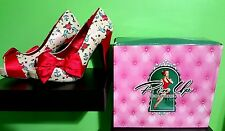 Pin Up Couture New bow, anchor, sparrow, skull, star, tattoo, heart, heels sz 9