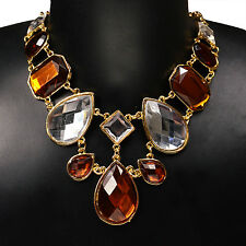 Vogue Teardrop Acrylic Resin Beads Bib Collar Statement Pendant Necklace