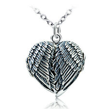 Angel Wings Heart Feather Locket Necklace -925 Sterling Silver Guardian Memorial