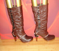 Superb  HARLOT Brown  leather  platform slouch boots EU 37