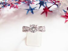 Women's Ring Size 8 Bow Shaped Rhinestone-Silver-Toned Metal Jewelry Gift