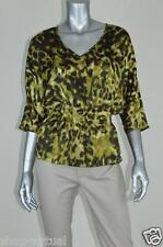 Anne Klein New Green Satin V-neck Pullover Blouse Top MSRP $99 Size XS