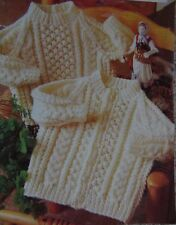 "BABIES~CARDIGAN~SWEATER~CABLE~BOBBLE~ARAN~DK KNITTING PATTERN SIZE 18""-24 (R 3)"