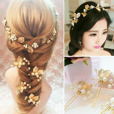 Wedding Party Bridal Pearl Flower Crystal Hairpin Hair Clips Bridesmaid 9*5.5cm