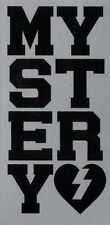 Mystery Skateboard Sticker - Black / Silver skate snow surf board bmx guitar van
