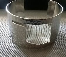 Rustic Oklahoma state cut out cuff hammered metal bracelet silver