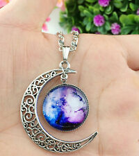 Hot Stylish Women Galaxy Universe Crescent Moon Glass Cabochon Pendant Necklace