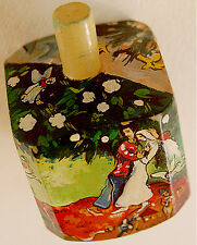 Jewish JUDAICA ART PIECE Hand Made PAINTED WOOD DREIDEL Chagall THREE CANDLES