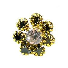Lovely Black CZ Piercing Nose Stud Pin Solid Real 14k Yellow Gold