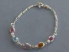 "NEW- ITALIAN STERLING SILVER BRACELET- 7""- FIGARO+MULTICOLOR OVAL CRYSTALS"
