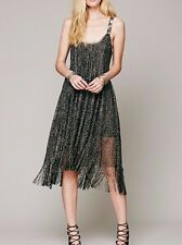 FREE PEOPLE Midnight Magic Fringe Black Gold Sparkly Metallic Dress ☮ SMALL
