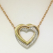 "18K Tri Color Gold 16"" Trinity De Cartier Pave Diamond Heart Pendant Necklace"
