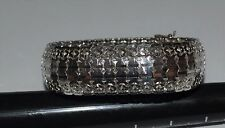Vintage 925 Sterling Silver Italy Wide Lines Flexible Chain Bracelet 32.50 grams