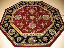 8' Octagon Traditional Oriental  Persian Black Gold Burgundy Red Area Rug