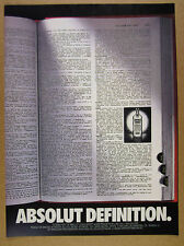 1990 Absolut Definition webster's dictionary page photo art vintage print Ad