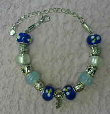 **Handmade Blue Luxury Chunky Murano Glass Bead Charm Bracelet - A Great Gift**