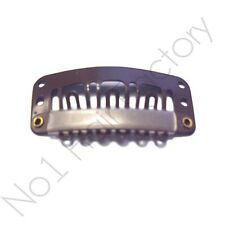 x 10 Salon Grade Hair Extension Metal Snap Clips for Wig Weft 32mm / 3.2cm Brown