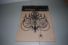NEWBRIDGE HALLOWEEN BURLAP TABLE RUNNER BLACK CHANDELIER SPIDERS 13 X 70 NEW