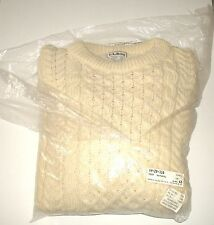 VINTAGE 94' LL BEAN Ireland Cable Knit Corded Fisherman Wool Men's Sweater LARGE