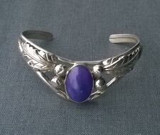 Impressive solid 925 sterling silver Southwestern resin Sugilite bangle 7.5""