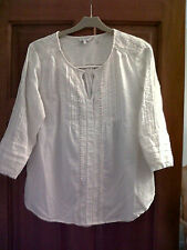 New Fatface Ladies Pretty Victoria Popover Ivory Top - Size 12