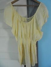 ADVANCE 2X New~cap-sleeve tunic top blouse  NWT 100% Cotton Yellow INDIA