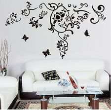 Black Butterfly Flower Removable Wall Sticker Decals Mural Home Art Decor