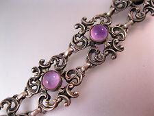 Art Nouveau Bracelet Cabochon Amethyst Sterling Silver Antique Jewelry Jewellery